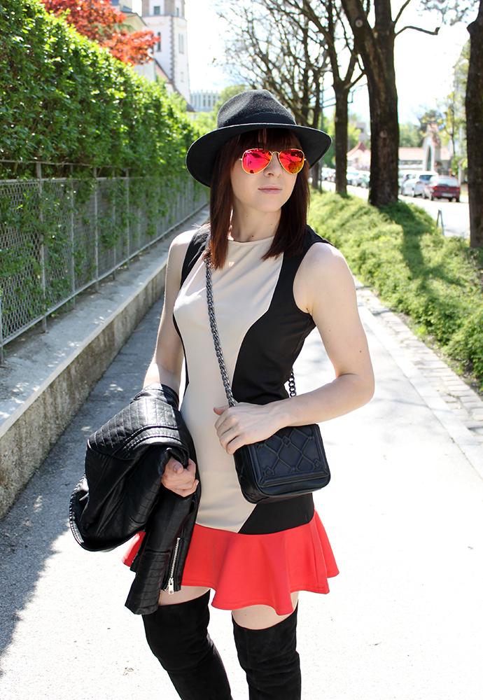 whoismocca, sugar hill kleid, over knee veloursleder H&M trend, lederjacke zara, tasche zara, hut lierys, sonnenbrille ray ban