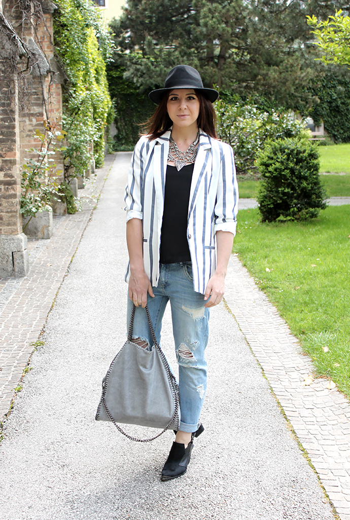 who is mocca, austrian fashionblogger, fashionblog tirol, boyfriend jeans, how to wear, mules, stella mccartney falabella lookalike bag, streifenblazer zara persunmall
