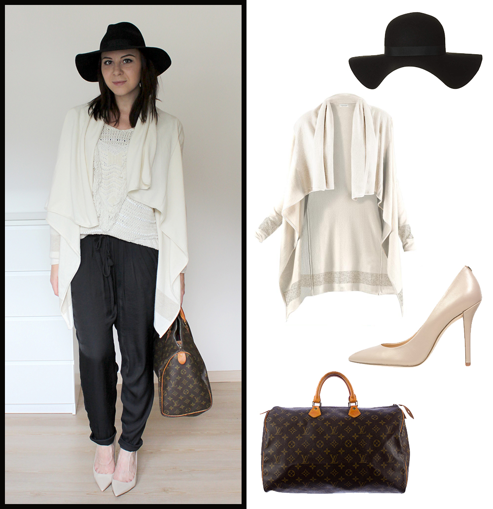 loose pants, nude pumps zign, louis vuitton speedy 40, kaschmir cardigan me and my style, strickpullover H&M, fedora hut topshop