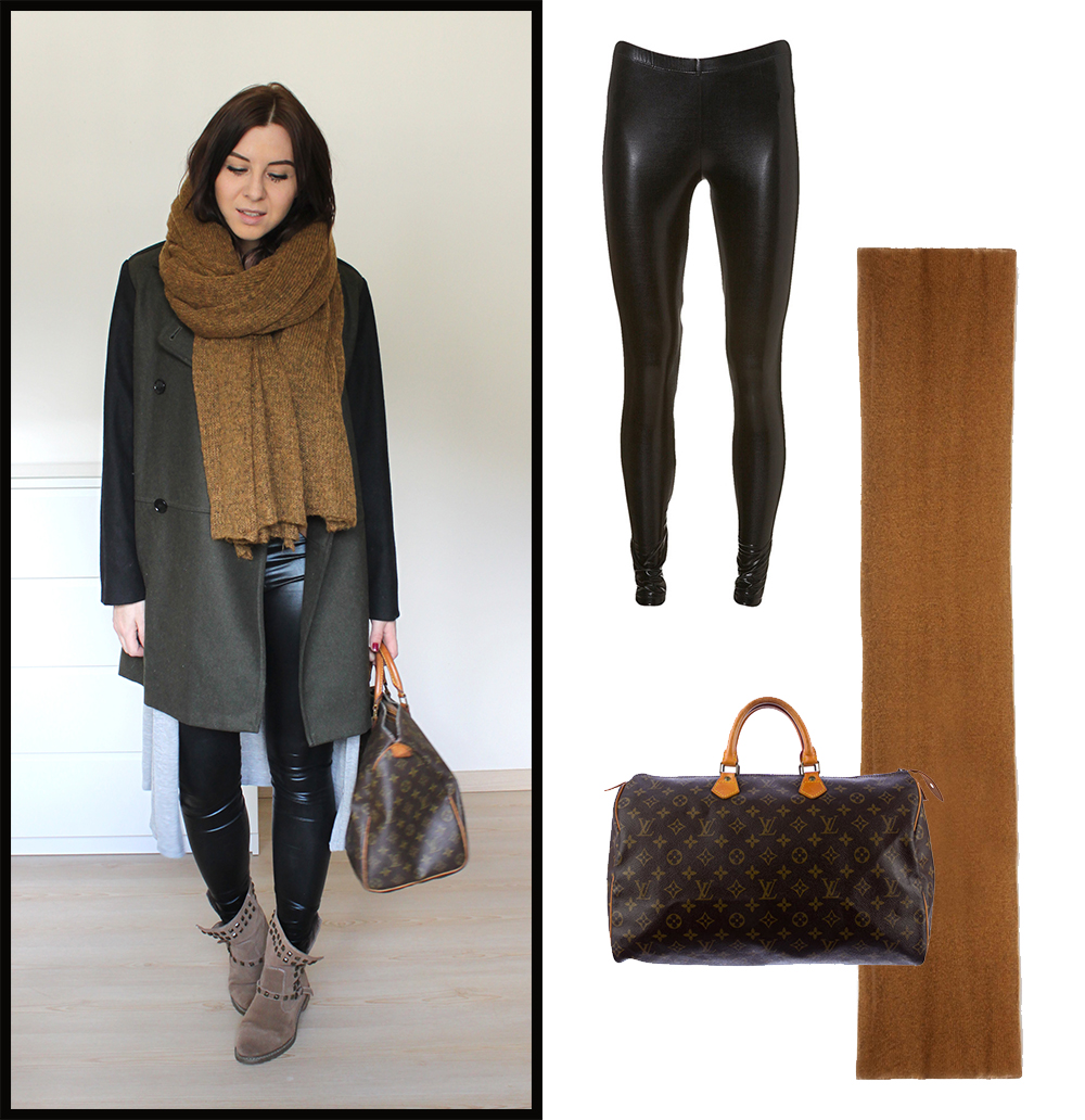 weekly outfit review, fashionblog tirol, interiorblog, beautyblog tirol, nietenboots zara, oversize mantel mango, louis vuitton speedy 40 vintage, wet look leggings, xl schal asos tobacco
