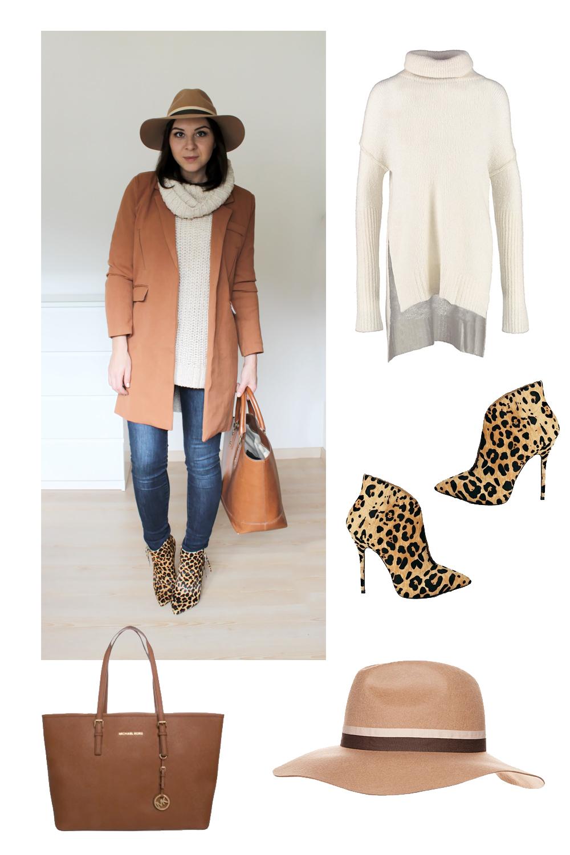 weekly outfit review, fashionblog tirol, fashionblog österreich, leo stiefeletten, camel mantel oasap, winter mantel trend, michael kors tasche, fedora hut topshop beige, rollkragen pullover, turtleneck