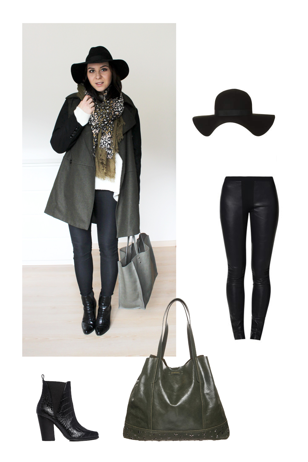 who is mocca, weekly outfit review, fashionblog tirol, fashionblog österreich, high waist hose H&M, shopper diesel zara khaki, mantel mango khaki schwarz, schal leopard two tone, fedora hut schlapphut topshop, oversize pullover weiß zara