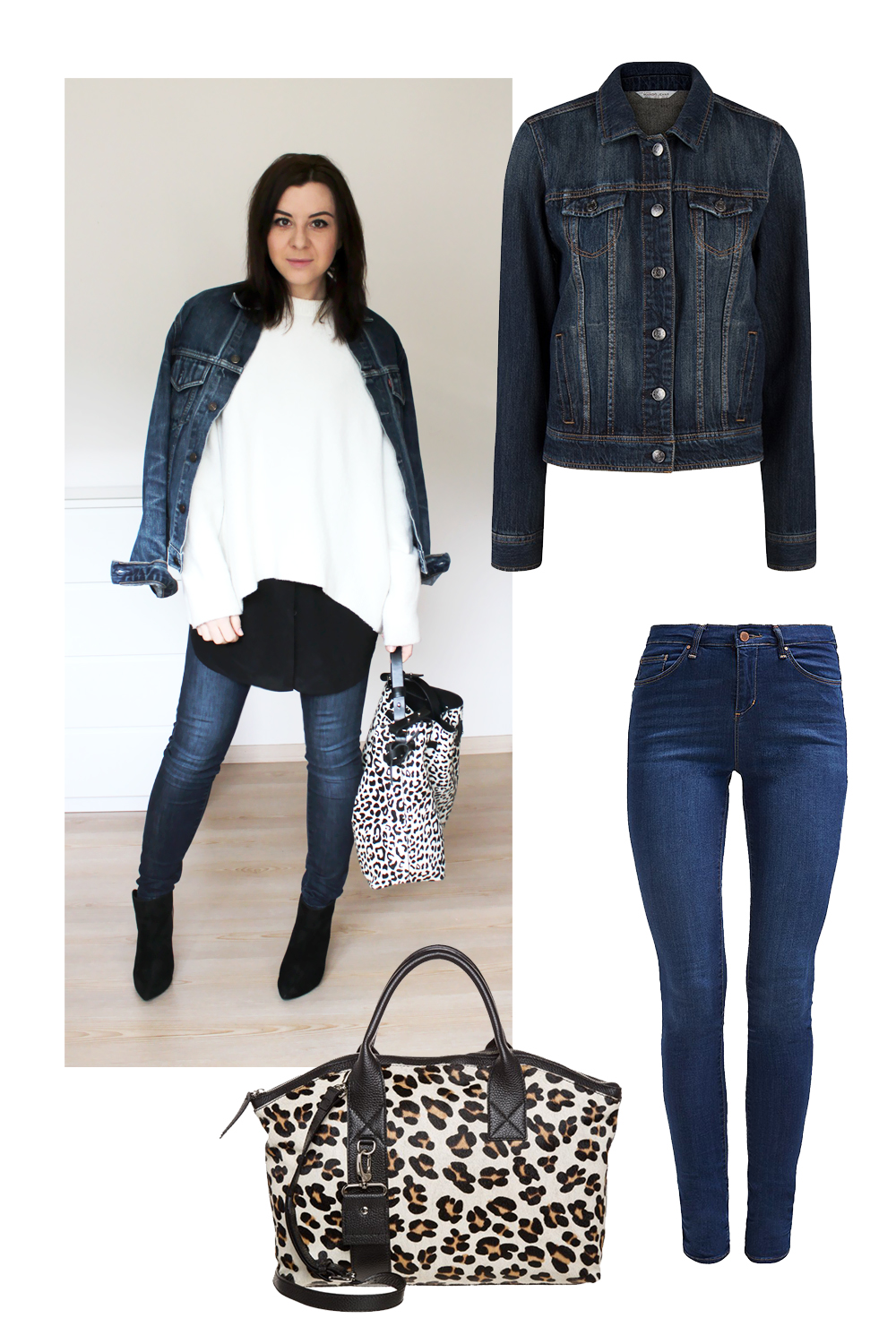 whoismocca, fashionblog tirol, fashionblog Österreich, weekly outfit review, high waist jeans zara, ankle boots zara, tasche animal print zara, jeansjacke levis vintage, layering, kleid COS