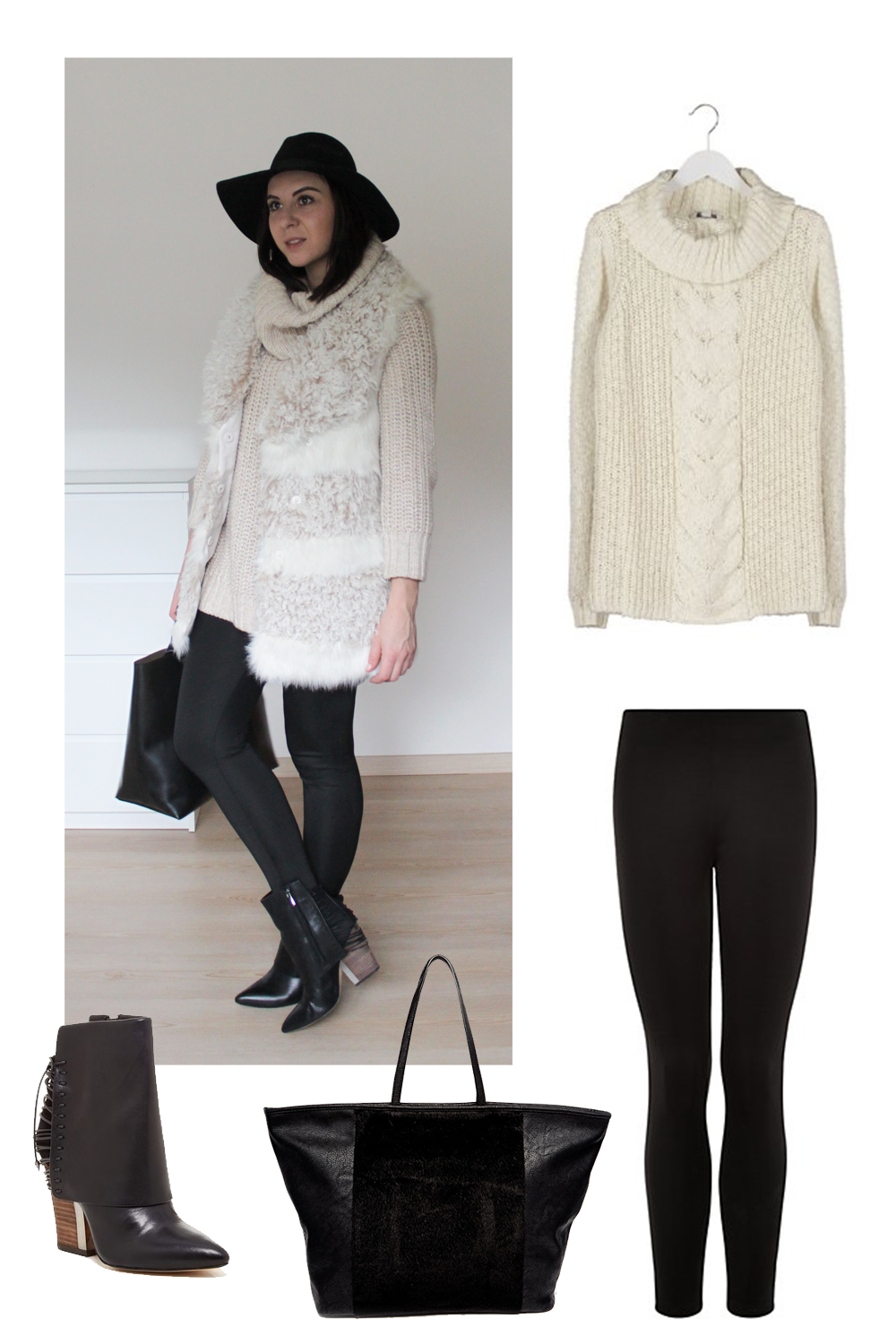 fake fur weste H&M, sam edelman martina boots schwarz, rollkragen pullover beige, scuba neopren leggings new look, shopper & other stories
