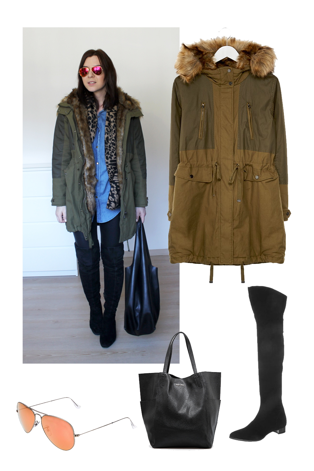 who is mocca, fashionblog tirol, fashionblog österreich, weekly outfit review, xl schal senfgelb rost asos, over knee stifle H&M Trend, over knee boots, beuteltasche, jeanshemd, parka topshop zalando khaki