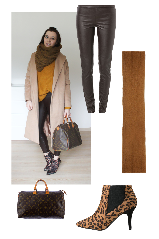 weekly outfit review, fashionblog tirol, fashionblog österreich, camel coat asos, oversize, leo stiefeletten H&M, louis vuitton speedy 40 vintage, lederhose, senfgelb strickpullover