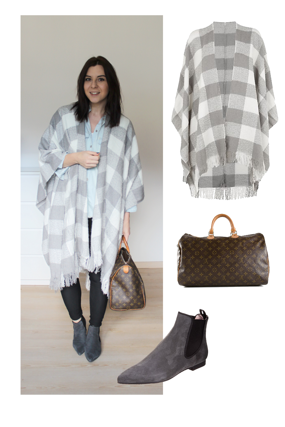 whoismocca, blogger tirol, weekly wardrobe review, everyday look, outfits arbeit, new look, cape poncho, louis vuitton speedy 40,