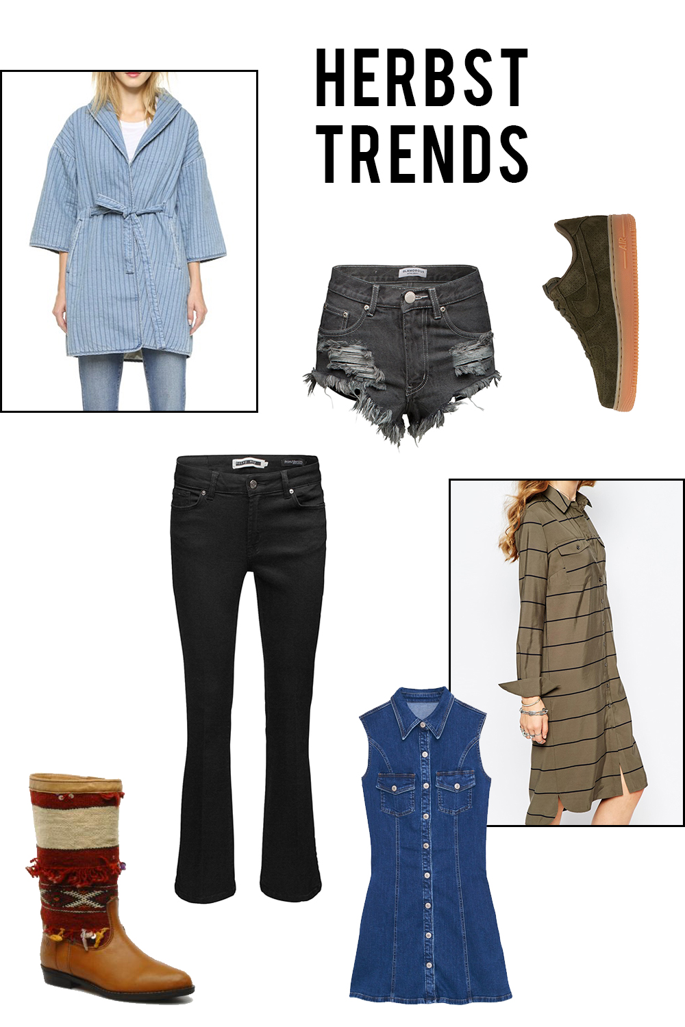 Weekly Wishlist Herbst Trends: Suede, Denim, Khaki, Boho-Prints