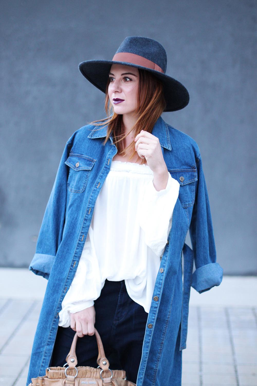 who is mocca, modeblog, fashionblog, tirolblog, denim mit denim kombinieren, jeansmantel vintage, tapered jeans, high heels, miu miu tasche vintage, fedora, whoismocca.com