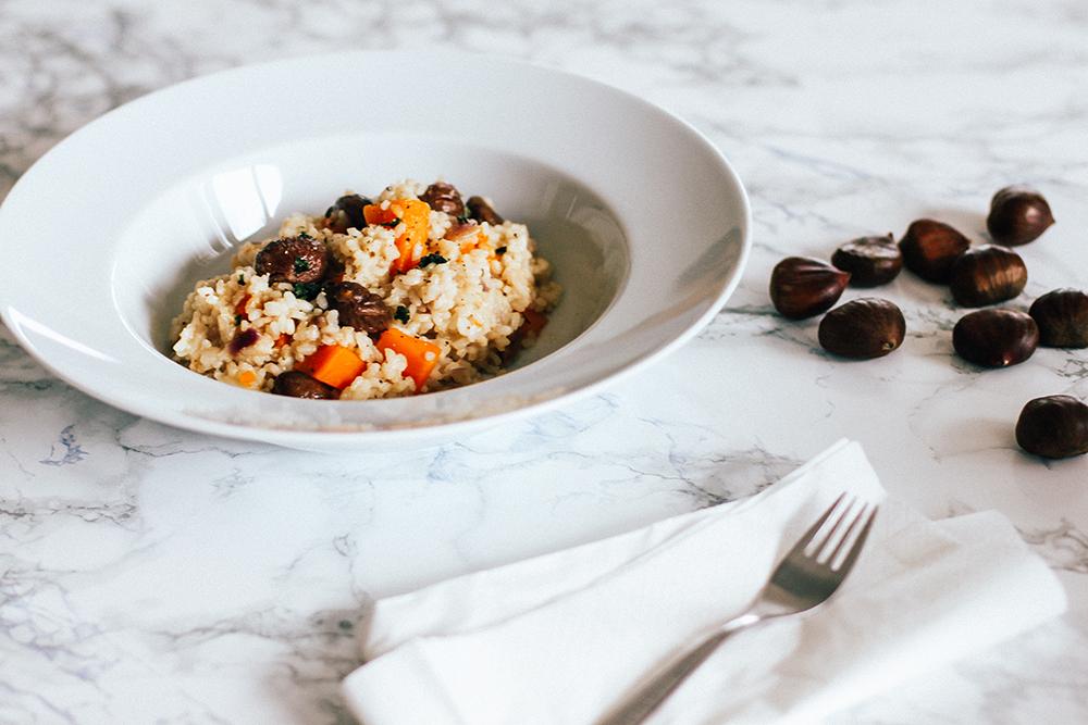 who is mocca, foodblogger, veganes maronen risotto, what vegans eat, gesundes mittagessen, kalorienarm, esskastanien, risotto reis, whoismocca.com