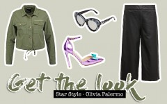 Get the Look, Olivia Palermo, Streetstyle, Fashion Blogger, Mode Blog, schwarze Lederhose, Khaki Hemd, Khaki Jacke, Metallic Pumps, whoismocca.com