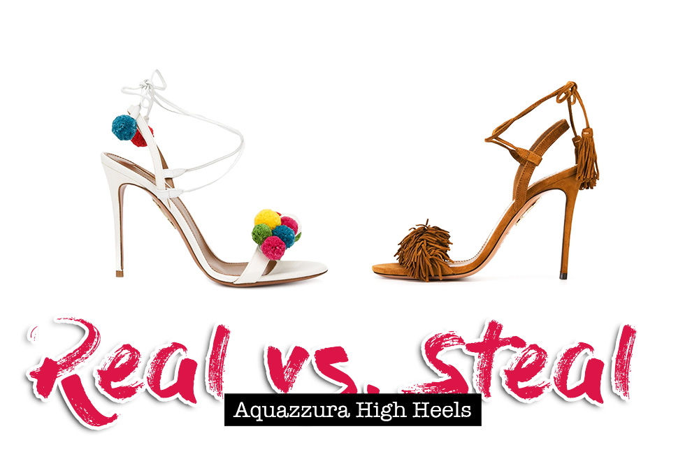 Real vs. Steal, Aquazzura High Heels, Wild Thing Sandalen, Pom Pom Sandalen, Dupe, Lookalike, Fashion Magazin Österreich, Modeblog, whoismocca.com