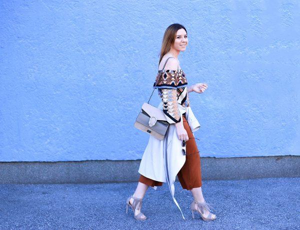 Off-Shoulder Outfit, Culotte, Fransen High Heels, Off-Shoulder Bluse, Streetstyle, Fashion Blog, Modeblog, whoismocca.com