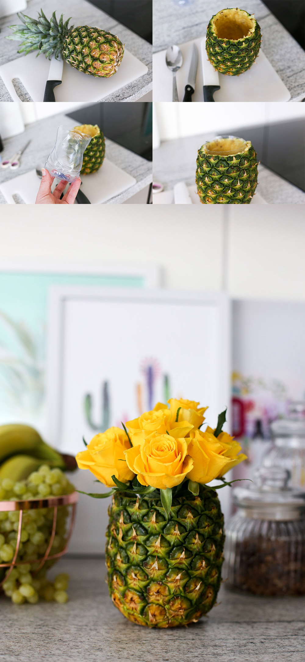 DIY Ananas Vase, Rose DIY, Pimp my Kitchen, Küche verschönern, Küchen Hacks, Do It Yourself, Interior Blog, Magazin, whoismocca.com