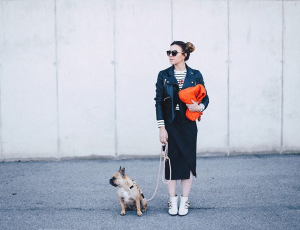 Outfit mit Bleistiftrock, Nadelstreifen kombinieren, Chloe Susanna Boots, Nina Ricci Tasche, Second Hand Shopping, Lederjacke stylen, Etre Cecile Streifenshirt, whoismocca.com
