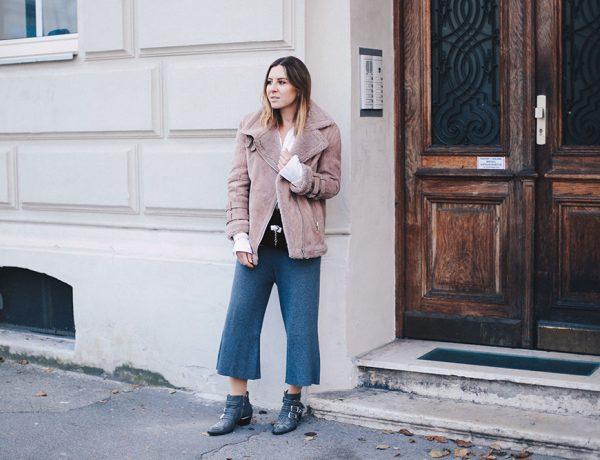 Rosa Shearling-Bikerjacke, Strick Culotte, Chloe Susanna Boots, Acne Lookalike Bikerjacke, Streetstyle, Outfit Blog, Modeblog, Fashion Blog, whoismocca.com