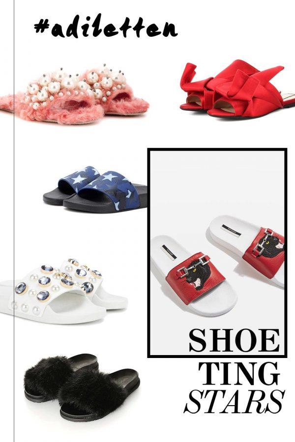 Diese Adiletten sind die neuen Shoetingstars, Pantoletten, Slipper, Mules, Schlappen, Fake Fur, Schleifen, Perlen, Nieten, Federn, Trendreport, Mikrotrend, Fashion Blog, Modeblog, Style Blog, Outfit Blog, www.whoismocca.com