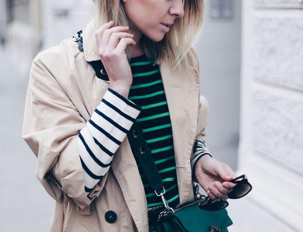Bold Stripes Trend, How to wear, Streifen Trend, Streetstyle, Modeblog, Frühlings Trends, Fashion Blog, Trenchcoat mit Schleifen, Zara Mules, Gucci Dionysus in Grün, Outfit Blog, Style Blog, www.whoismocca.com
