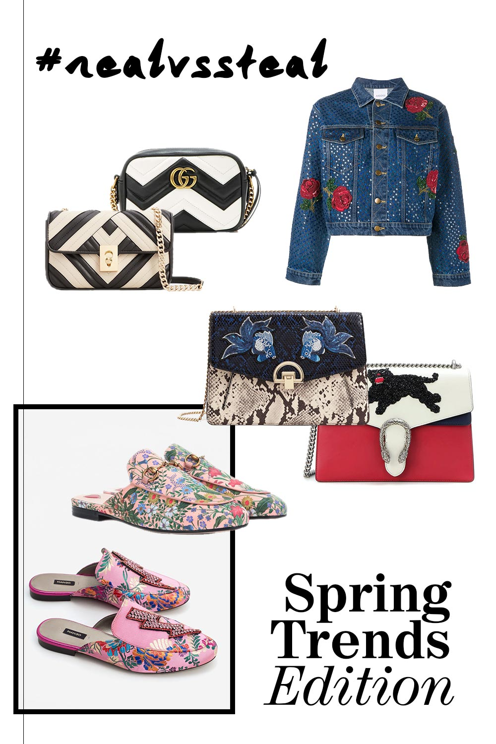 Real vs Steal, Spring Trends, Gucci Slipper, Gucci Bags, Gucci Jackets, Chanel Bags, Dupes, Lookalikes, Designer Dupes, Fashion Blog, Style Blog, www.whoismocca.com
