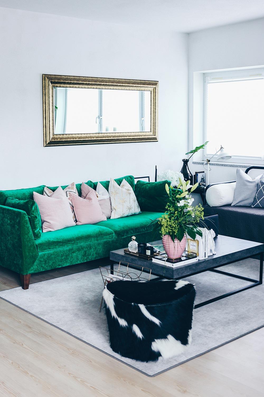 Unsere neue wohnzimmer einrichtung in gr n grau und rosa for Wohnzimmergestaltung ideen