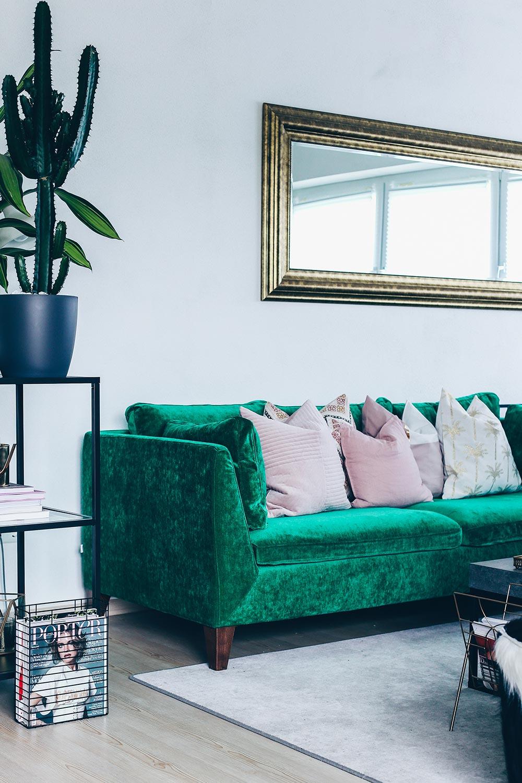 Unsere Neue Wohnzimmer Einrichtung In Grun Grau Und Rosa