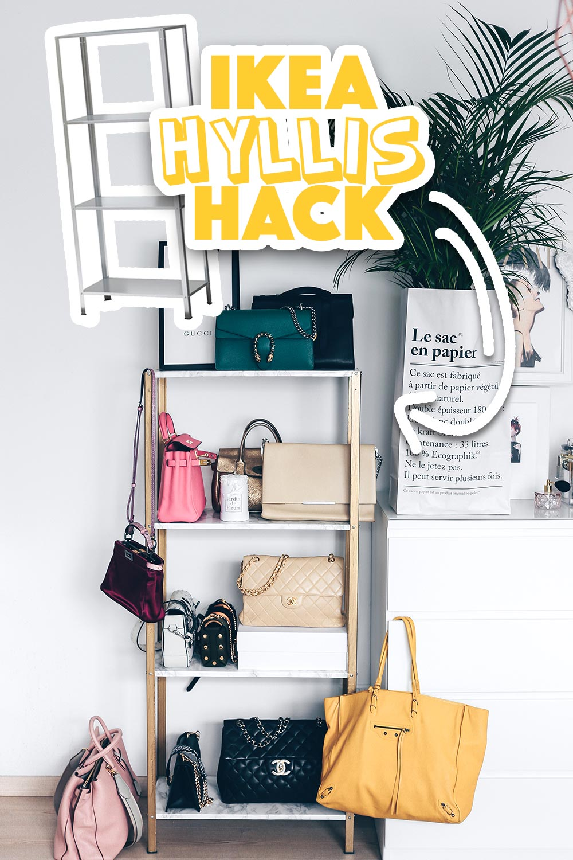 ikea hyllis hack meine diy taschen aufbewahrung im ankleideraum. Black Bedroom Furniture Sets. Home Design Ideas