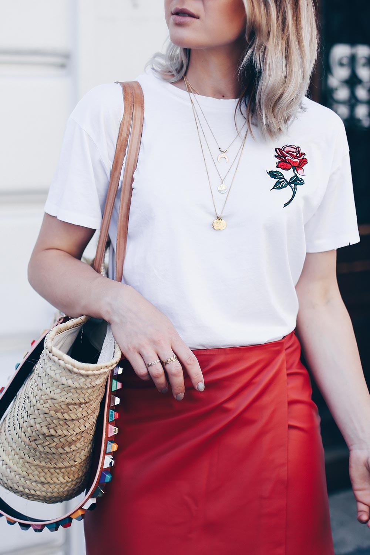 Lederrock kombinieren, Sommer Outfit mit Lederrock, Mango Pumps, Korbtasche, Print Shirt, Streetstyle Blog, Fashion Blog, Outfit Blog, Modeblog, www.whoismocca.com