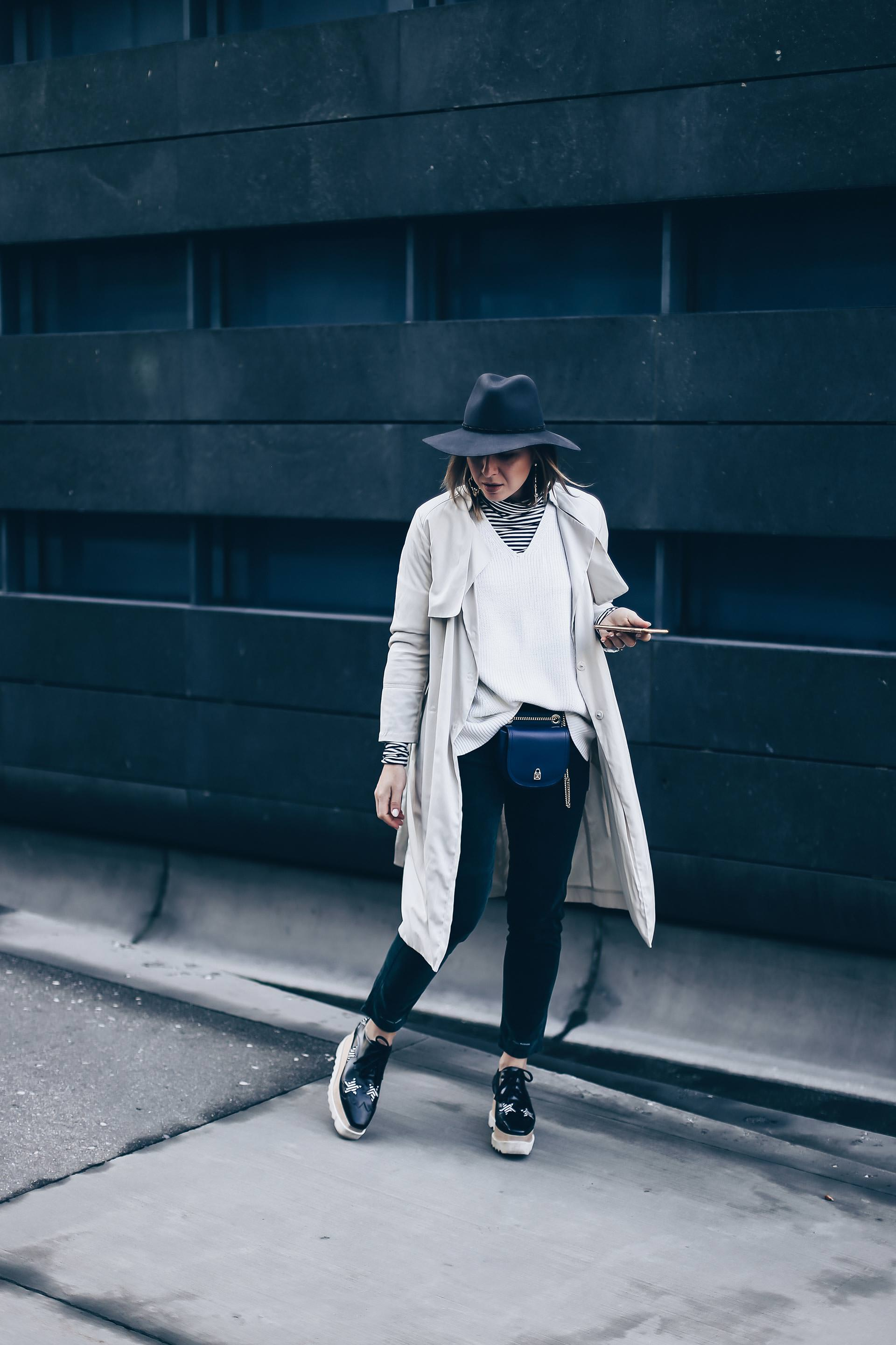 Wie kombiniert man eine Gürteltasche?, Wie trägt man eine Bauchtasche im Alltag?, Gürteltasche Trend, Outfit Idee, Outfit Inspiration für den Herbst, Closed Pedal Pusher Hose, Stella Elyse Star Schuhe, Trenchcoat Outfit, Fashion Blog, Modeblog, Style Blog, www.whoismocca.com