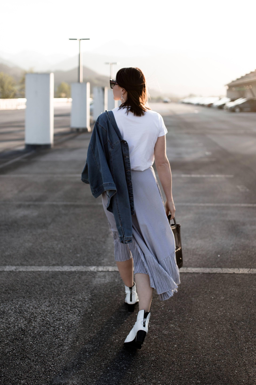Taschen Trends 2018, welche Taschen sind gerade in, transparente Taschen alltagstauglich kombinieren, durchsichtige Taschen It-Bags stylen, Wickelrock Outfit, weiße Boots kombinieren, Gestuz Greek Shirt, Mango Girls, Frühsommer Outfit, Fashion Blogger, www.whoismocca.com
