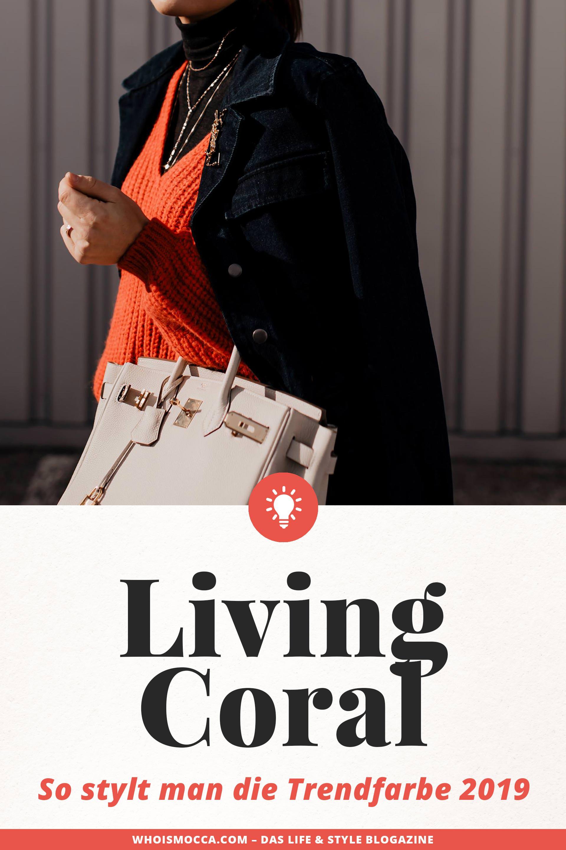 enthält unbeauftragte Werbung // Living Coral,pantone farbe des jahres 2019,pantone farbe 2019,Koralle kombinieren,styling tipps,mode tipps,trendfarben für 2019,modetrends 2019, Outfit für jeden Tag, Closed Pullover, Jeansjacke kombinieren, Sneaker Wedges, Hermes Birkin, www.whoismocca.com #livingcoral #trendfarbe #modetrends #styling #modeblogger