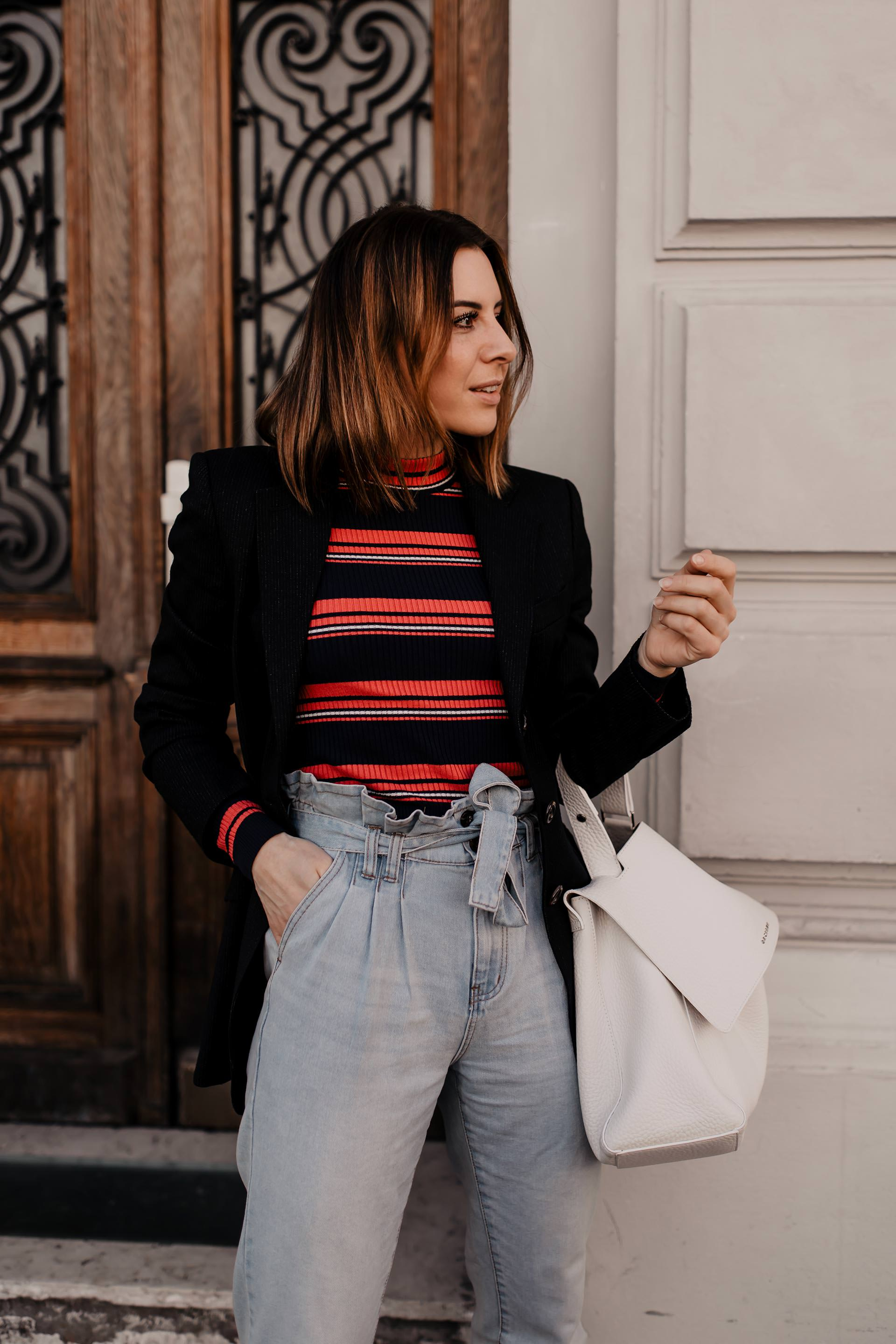 Werbung // Paperbag Hose stylen, eBay Fashion, Statement Stripes, Bold Stripes, Modetrends 2019, Frühlingsoutfit, Paperbag jeans, gestreifter pullover, bold stripes trend, streifen kombinieren, gestreiften pullover kombinieren, Mode Tipps, www.whoismocca.com #boldstripes #modetrends #frühlingstrends #statementstripes #eBayFashion