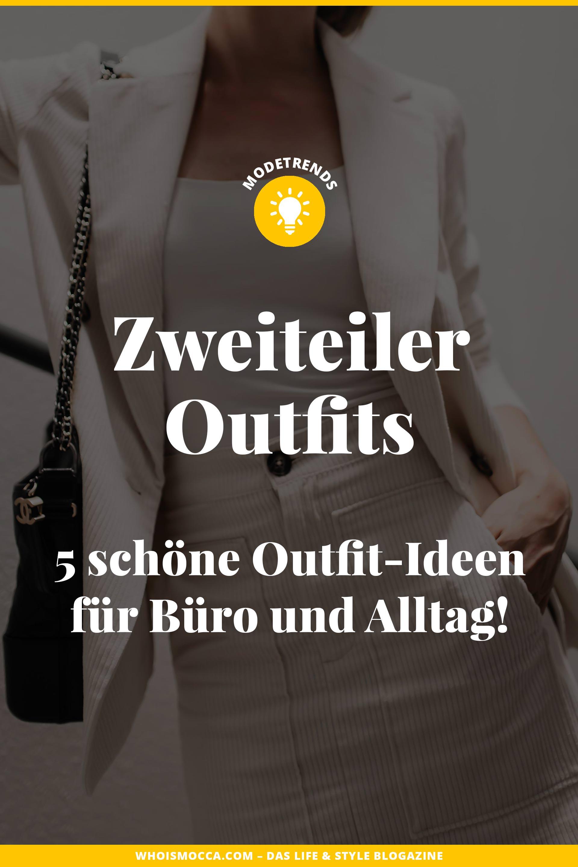 Am Modeblog findest du heute schöne Zweiteiler Outfits für den Alltag und fürs Büro. Ich zeige dir Rock und Bluse Kombinationen, Paperbag-Hosen Stylings, Shorts und Blazer Sets sowie lässige weitere Outfit-Ideen für jeden Tag. www.whoismocca.com #zweiteiler #herbsttrends