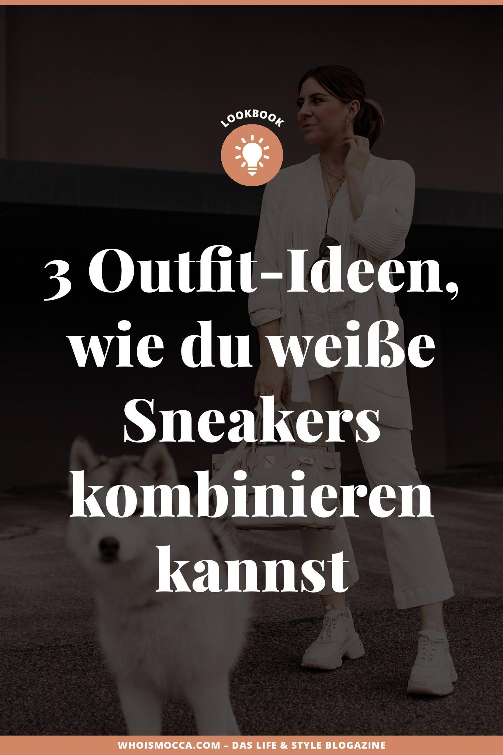 Du möchtest weiße #Sneakers kombinieren und bist auf der Suche nach Outfit-Inspirationen? Dann herzlich willkommen auf meinem #Modeblog, wo ich dir heute ein kleines Sneakers #Lookbook präsentiere. www.whoismocca.com #frühlingsoutfit #modetrends #alltagsoutfit