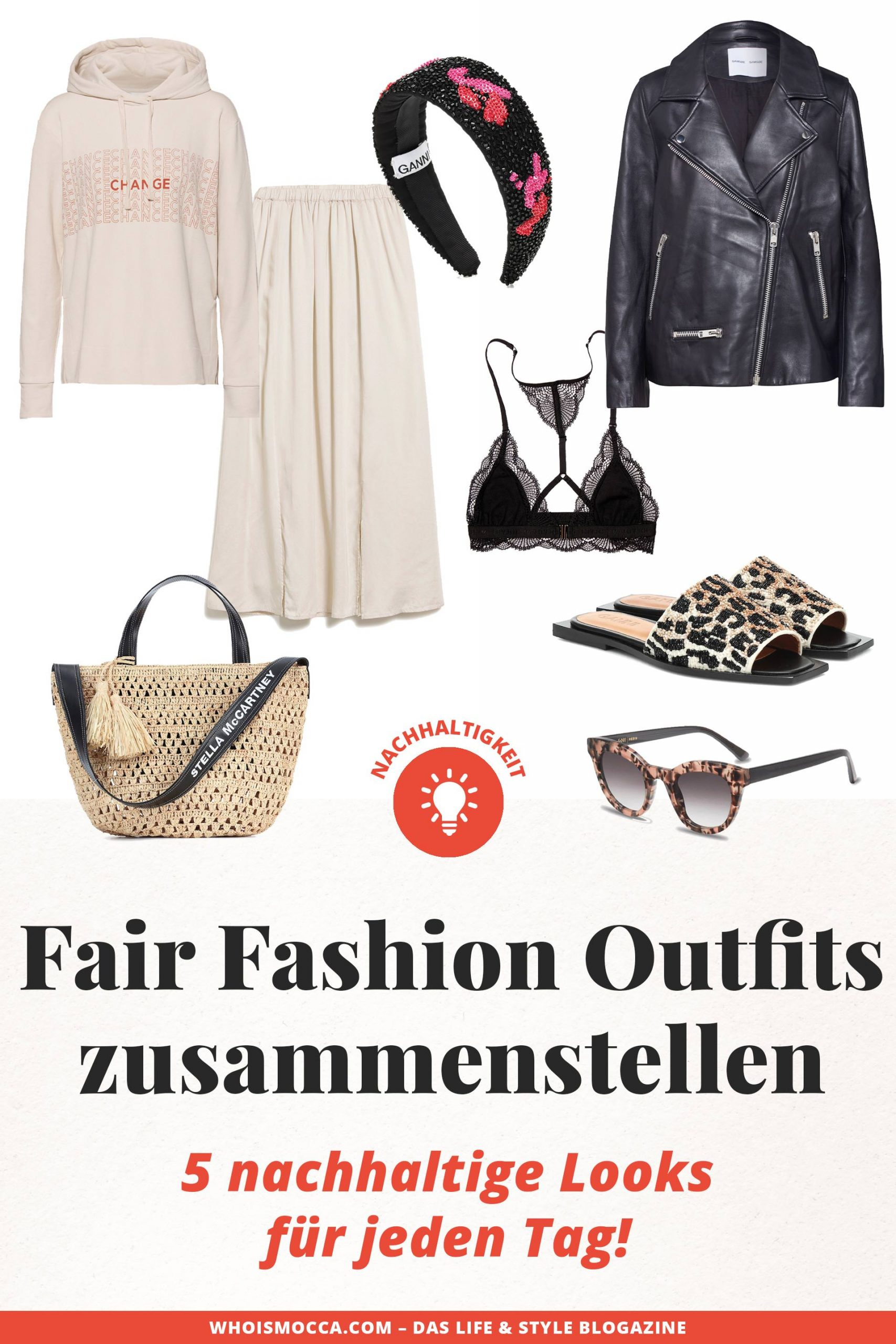 Nachhaltige Outfits zusammenstellen leicht gemacht: Ich zeige dir 5 Fair Fashion Outfits, mit denen du von Montag bis Freitag eine gute Figur machst. www.whoismocca.com #fairfashion #nachhaltigkeit #modemarken #nachhaltig