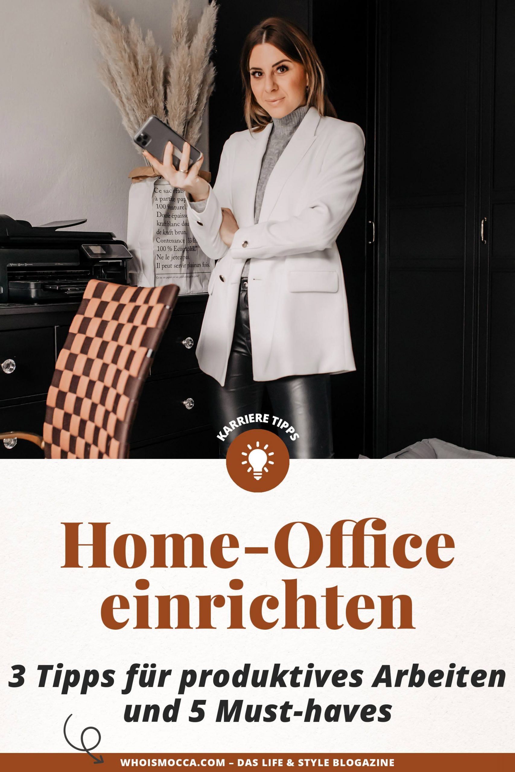 Home-Office einrichten leicht gemacht! Ich habe 3 Tipps für produktives Arbeiten und 5 Must-haves für einen organisierten Arbeitsplatz für die am Interior und Karriere Blog gesammelt. www.whoismocca.com #homeoffice #arbeitsplatz #zuhausearbeiten #produktiv